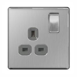 Screwless 1 Gang 13A Switched Socket Brushed Steel Grey Trim Flat Plate BG Nexus FBS21G-01
