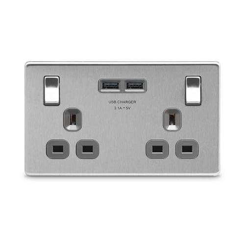 2 Gang 13A Socket with 2 x USB Socket 3.1A Screwless Flat Plate Brushed Steel Grey Insert BG FBS22U3G