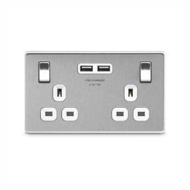 2 Gang Switched Socket with 2 x type A USB Charger 3.1A in Screwless Flat Plate Brushed Steel and White Plastic Trim, BG Nexus FBS22U3W