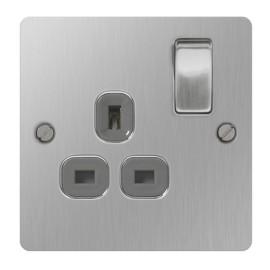 1 Gang 13A Switched Single Socket Flat Plate Brushed Steel, BG Nexus SBS21G
