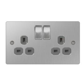 2 Gang 13A Switched Socket (Double Socket) Flat Plate Brushed Steel Nexus SBS22G