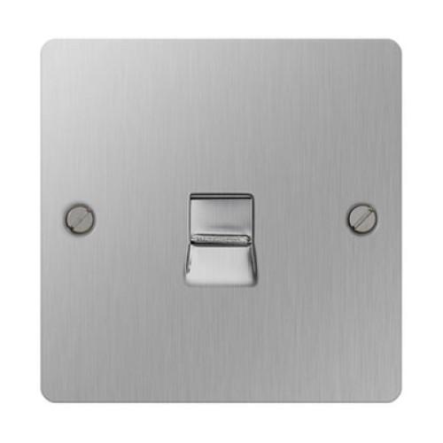 1 Gang Secondary Telephone Socket Nexus SBSBTS1 Brushed Steel Flat Plate, Slave BT Phone Socket