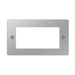 2 Gang Plate for 4 Euro Modules in Brushed Steel Flat Plate, BG Four Module Euro Faceplate Only