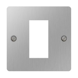 1 Gang Euro Plate in Brushed Steel for a Single Module, Euro Front Flat Plate BG Nexus