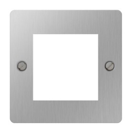1 Gang Euro Plate for 2 Euro Modules in Brushed Steel, BG Nexus Faceplate Only