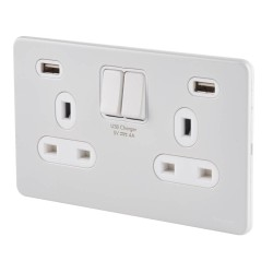 Schneider 2 Gang 13A Switched Socket with 2 USB 4A type A Charger White Metal Screwless Flat Plate White Trim Ultimate GGBGU3424DWPW