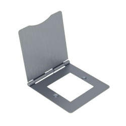 1 Gang 2 Euro Module Floor Hinged Cover, 2 Euro Module Front Plate in Brushed Steel (square)