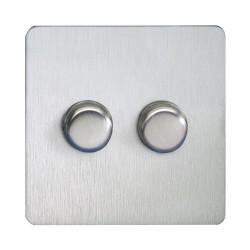 Screwless 2 Gang 2 Way 60-250W/VA Mains and Low Voltage Dimmer Stainless Steel Plate Schneider GU6422CSS