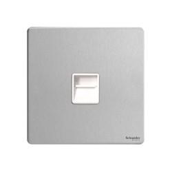 Screwless 1 Gang Master Telephone Socket in Stainless Steel Flat Plate White Insert Schneider GU7461WSS