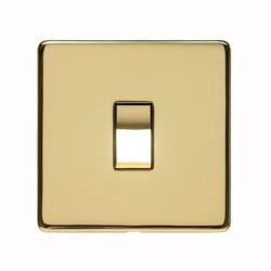 1 Gang 2 Way 10A Rocker Switch Screwless Polished Brass Flat Plate Studio Range