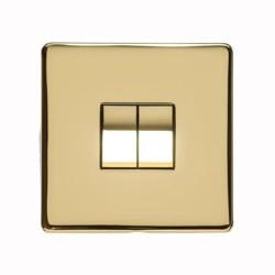 2 Gang 2 Way 10A Rocker Switch Screwless Polished Brass Flat Plate Studio Range