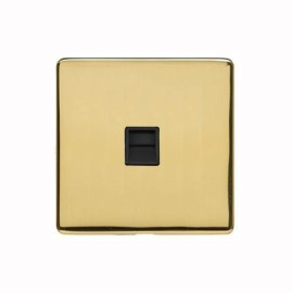 1 Gang Secondary Telephone Socket Screwless Polished Brass Plate and a Black Insert, Studio Range