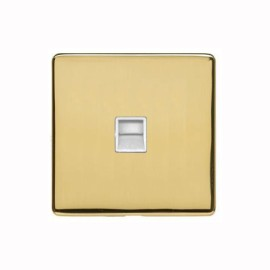 1 Gang Secondary Telephone Socket Screwless Polished Brass Plate and a White Insert, Studio Range