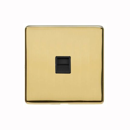 1 Gang Master Telephone Socket Screwless Polished Brass Plate with a Black Insert Studio Range