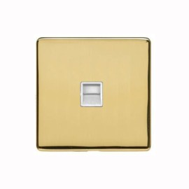 1 Gang Master Telephone Socket Screwless Polished Brass Plate with a White Insert Studio Range