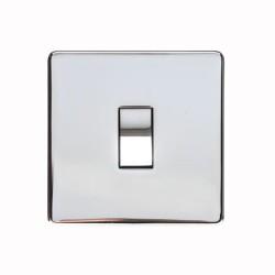 1 Gang 2 Way 10A Rocker Switch Screwless Polished Chrome Flat Plate Studio Range