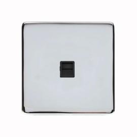 1 Gang Secondary Telephone Socket Screwless Polished Chrome Plate with a Black Insert, Studio Range