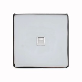 1 Gang Secondary Telephone Socket Screwless Polished Chrome Plate with a White Insert, Studio Range