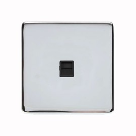 1 Gang Master Telephone Socket Screwless Polished Chrome Plate with a Black Insert Studio Range