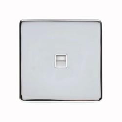 1 Gang Master Telephone Socket Screwless Polished Chrome Plate White or Black Insert Studio Range