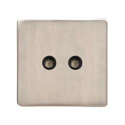 2 Gang TV/FM Diplexed Socket Screwless Satin Nickel Flat Plate with a Black Trim Studio Range