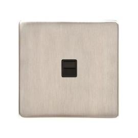 1 Gang Secondary Line Phone Socket Screwless Satin Nickel Plate with a Black Insert, Studio Range