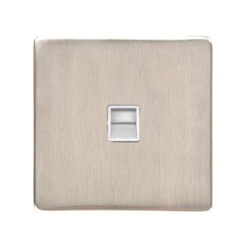 1 Gang Secondary Line Phone Socket Screwless Satin Nickel Plate with a White Insert, Studio Range