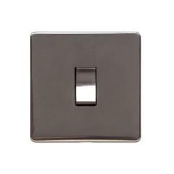 1 Gang 2 Way 10A Rocker Switch Screwless Polished Bronze Flat Plate (Studio Range)