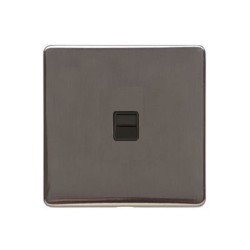1 Gang Master Telephone Socket Screwless Polished Bronze Plate Black Insert (Studio Range)