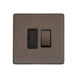 1 Gang 13A Switched Fused Spur in Matt Bronze Black Trim Screwless Flat Plate Studio Range