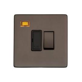 1 Gang 13A Switched Spur with Neon Matt Bronze Black Trim Screwless Flat Plate Studio Range