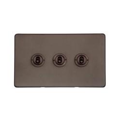 3 Gang 2 Way Dolly Switch in Matt Bronze Screwless Flat Plate Studio Range