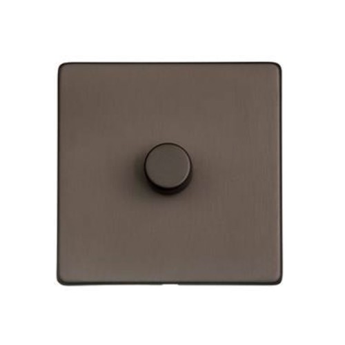1 Gang 10-120W Trailing Edge LED Dimmer in Matt Bronze Screwless Flat Plate Studio Range