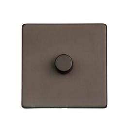 1 Gang 2 Way Push On/Off Dimmer Switch 400W in Matt Bronze Screwless Flat Plate Studio Range