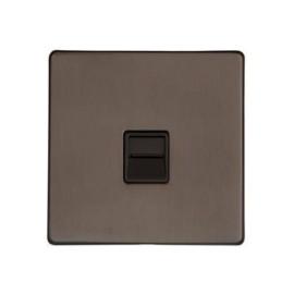 1 Gang Secondary Telephone Socket in Matt Bronze Black Trim Screwless Flat Plate Studio Range