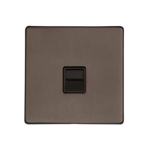 1 Gang Master Telephone Socket in Matt Bronze Black Trim Screwless Flat Plate Studio Range