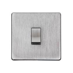 1 Gang 2 Way 10A Rocker Switch Screwless Satin Chrome Flat Plate Studio Range