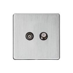 Satellite and TV Socket Screwless Satin Chrome Flat Plate with a Black Trim Studio Range