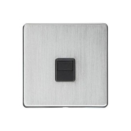 1 Gang Secondary Line Phone Socket Screwless Satin Chrome Plate with a Black Insert, Studio Range
