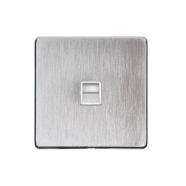 1 Gang Secondary Line Phone Socket Screwless Satin Chrome Plate with a White Insert, Studio Range