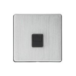 1 Gang Master Line Phone Socket Screwless Satin Chrome Plate Black Insert Studio Range