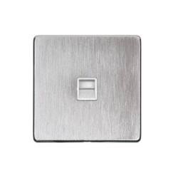 1 Gang Master Line Phone Socket Screwless Satin Chrome Plate White or White Insert Studio Range