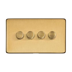 4 Gang 10W-120W Trailing Edge LED Dimmer in Satin Brass Screwless Flat Plate Studio Range