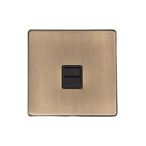 1 Gang Secondary Phone Socket Screwless Antique Brass Plate Black Insert, Studio Range