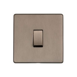 Screwless 1 Gang 2 Way 10A Rocker Switch Aged Pewter Plate and Switch, Studio Range