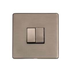 Screwless 2 Gang 2 Way 10A Rocker Switch Aged Pewter Plate and Switch, Studio Range