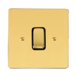 1 Gang 2 Way 10A Rocker Grid Switch in Polished Brass and Black Trim Stylist Grid Flat Plate