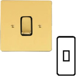 1 Gang Architrave 20A Rocker Grid Switch in Polished Brass and Black Trim Stylist Grid Flat Plate