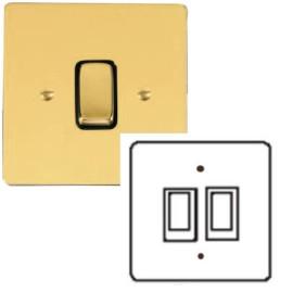 2 Gang 2 Way 10A Rocker Grid Switch in Polished Brass and Black Trim Stylist Grid Flat Plate