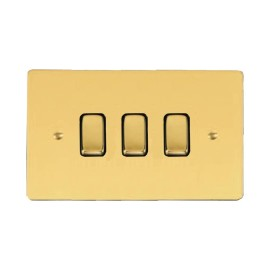 3 Gang 2 Way 10A Rocker Grid Switch in Polished Brass and Black Trim Stylist Grid Flat Plate
